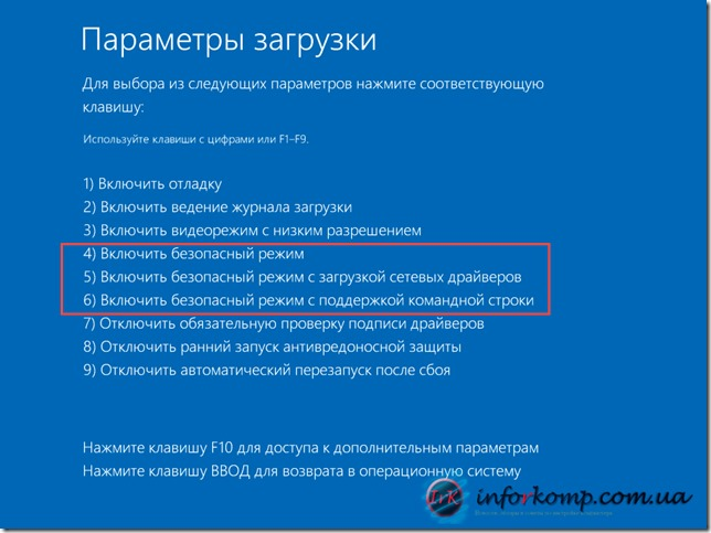 Вклчить безопасный режим Windows 8