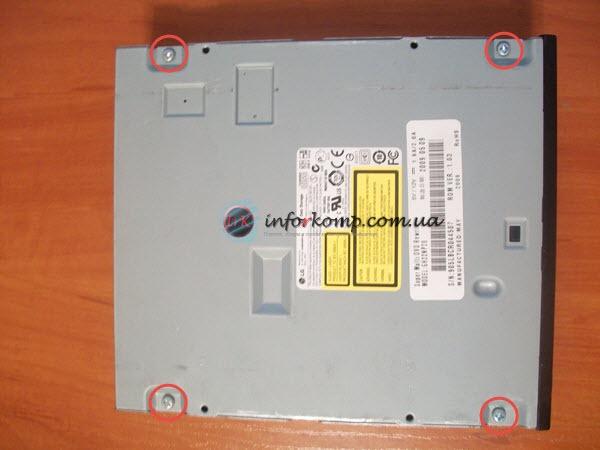 Осоединения крышки CD ROM