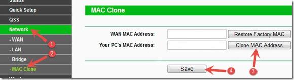 Клонирование MAC адреса на TP Link