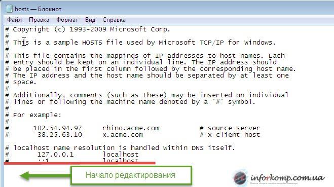 Начало редактирования hosts