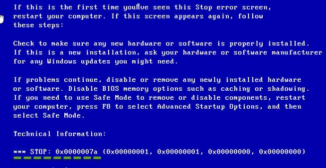 0x0000007A KERNEL_DATA_INPAGE_ERROR