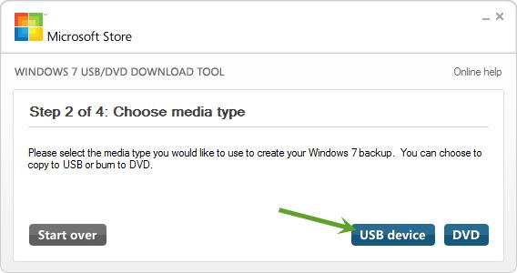 Выбор USB накопителя