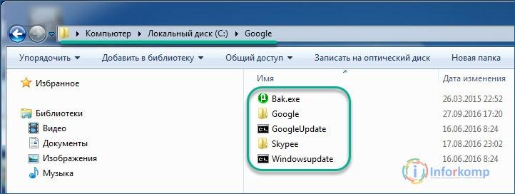 Папка google с вирусом Bak