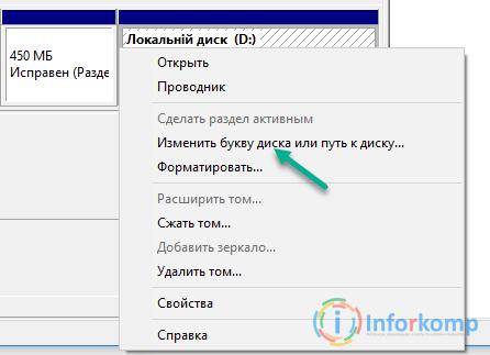 Изменить или удалить букву диска