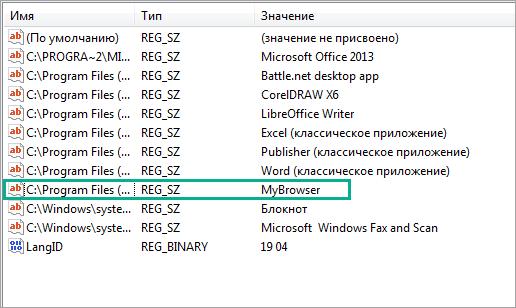 Удалить остатки браузера MyBrowser