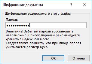 Установка пароля на документ