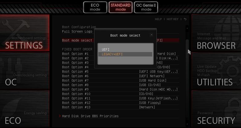 Включить режим загрузки Legacy+UEFI