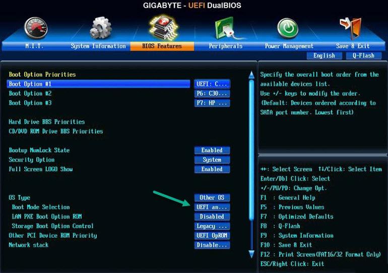 Настройка UEFI на метеринских платах Gigabyte
