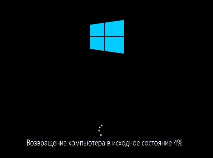 Процесс сброса Windows 10