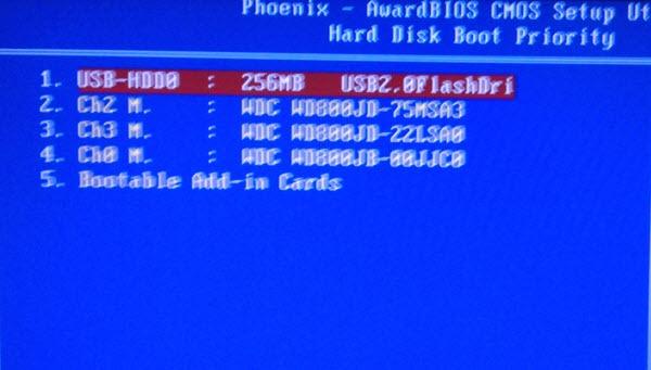 Выставляем флешку в настройках HDD