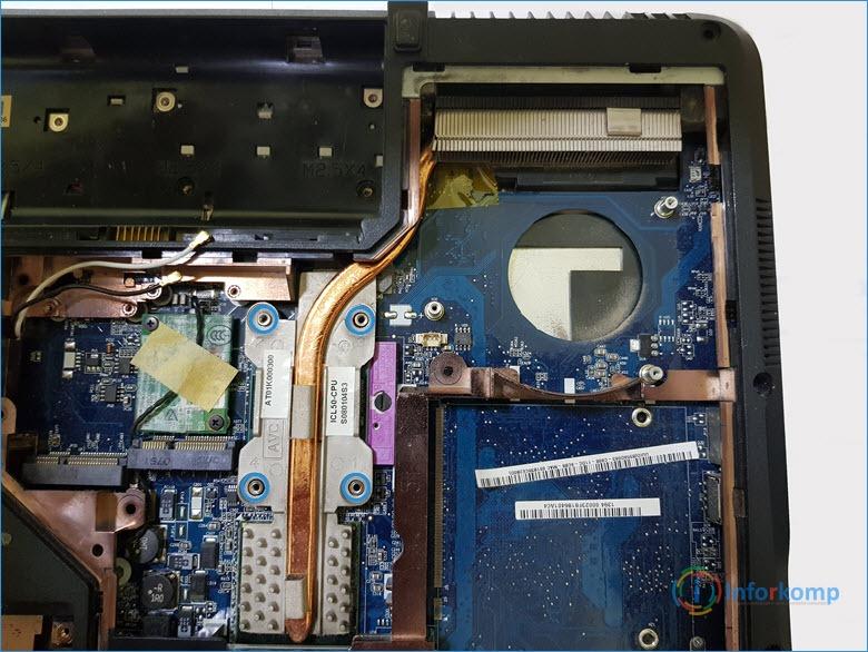 Отсоединяем радиатор на Acer 5720